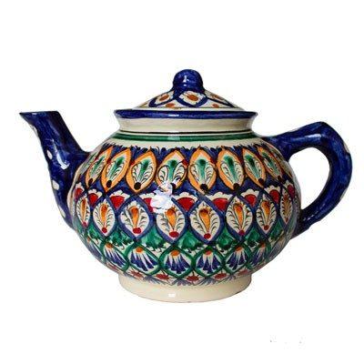 Риштанский чайник синий