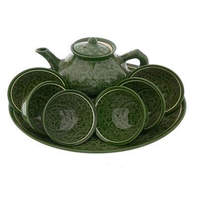 Чайный сервиз ручной работы зелёный
