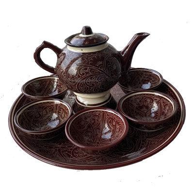 Чайный сервиз ручной работы коричневый